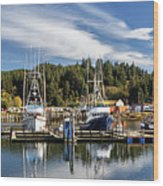 Boats In Winchester Bay Wood Print