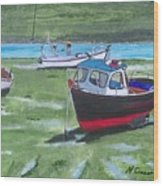 Boats Low Tide Emsworth Wood Print