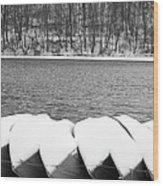 Boats - Lower Twin Lake Bw Wood Print