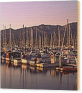 Boats Moored At A Harbor, Stearns Pier Wood Print