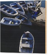 Boats Moored At Dock Wood Print