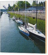 Boats Moving Into Chittenden Locks Seattle Wood Print