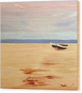 Boats On A Beach Wood Print