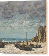 Boats On A Beach, Etretat Wood Print
