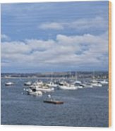 Boats On Blue Water Wood Print