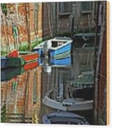 Boats On Canal In Venice Wood Print