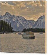 Boats On Jackson Lake At Sunset Wood Print