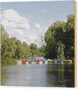Boats On Markeaton Lake Wood Print