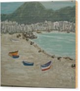 Boats On The Beach In Spain Wood Print