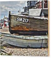 Boats On The Beach Wood Print