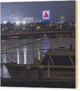 Boats On The Charles River Citgo Sign Boston Massachusetts Wood Print