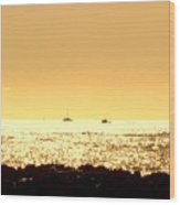 Boats On The Golden Horizon Wood Print