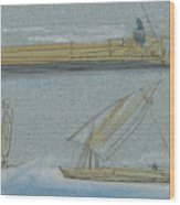 Boats On The Nile Wood Print