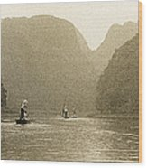 Boats On The River Tam Coc No1 Wood Print