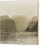 Boats On The River Tam Coc No2 Wood Print