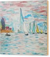 Boats On Water Monet  Wood Print