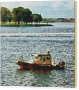Boats - Police Boat Norfolk Va Wood Print