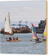 Boats Race Wood Print