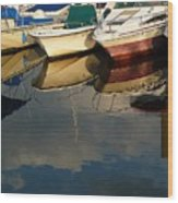 Boats Reflected Wood Print