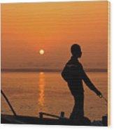 Boatsman On The Ganges Wood Print
