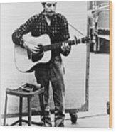 Bob Dylan B. 1941 Playing Guitar Wood Print