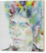 Bob Dylan - Watercolor Portrait.4 Wood Print