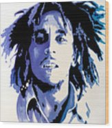 Bob Marley - Blue Wood Print