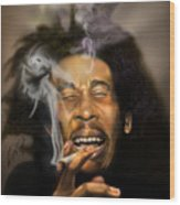 Bob Marley-burning Lights 3 Wood Print by Reggie Duffie