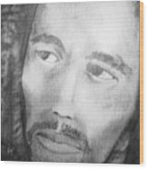 Bob Marley Pencil Portrait Wood Print