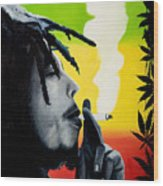 Bob Marley Smoking Wood Print