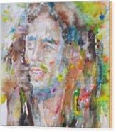 Bob Marley - Watercolor Portrait.17 Wood Print