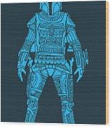 Boba Fett - Star Wars Art, Blue Wood Print
