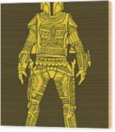 Boba Fett - Star Wars Art, Yellow Wood Print