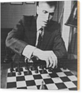 Bobby Fischer 1943-2008 Competing At An Wood Print by Everett