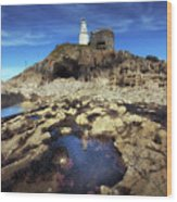 Bob's Cave At Mumbles Lighthouse Wood Print