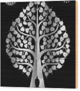 Bodhi Tree_iv_gold05_greyscale Wood Print