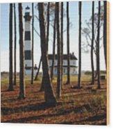Bodie Island Light Through The Pines Wood Print