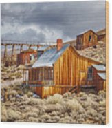 Bodie Stamp Mill, Sunrise With A Dusting Of Snow Wood Print