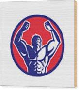 Body Builder Flexing Muscles Circle Retro Wood Print