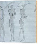 Body Sketches With Umbrella Wood Print