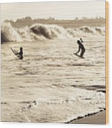Body Surfing Family Wood Print
