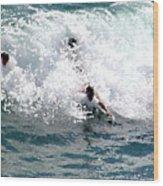Body Surfing The Ocean Waves Wood Print