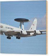 Boeing E-3b 71-1407 Sentry Phoenix Sky Harbor January 9 2015 Wood Print