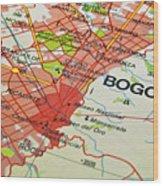 Bogota City Map. Wood Print