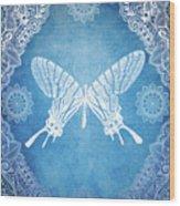 Bohemian Ornamental Butterfly Deep Blue Ombre Illustratration Wood Print