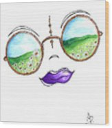 Boho Gypsy Daisy Field Sunglasses Reflection Design From The Aroon Melane 2014 Collection By Madart Wood Print
