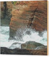 Boiler Bay Waves Wood Print