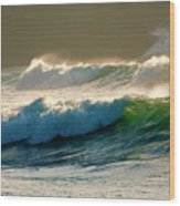 Boiler Bay Waves Rolling Wood Print by Mike  Dawson