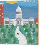 Boise Idaho Vertical Skyline Wood Print