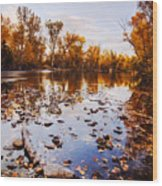 Boise River Autumn Glory Wood Print